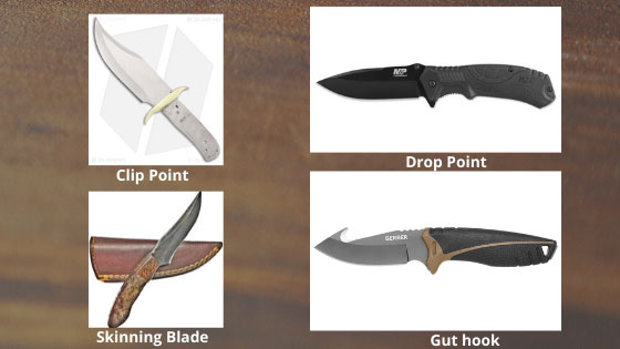 Clip-Point, Drop-Point, Skinning-Blade, Gut-hook-knife